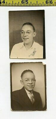 (2) Vintage 1930's BOOTH photos / Botts the Wacky Guy with Magnified Eyeglasses