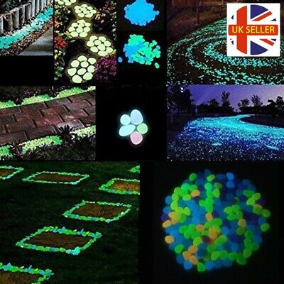 100 x Glow In The Dark Pebbles Stones Home Garden Walkaway Aquarium Fish Tank