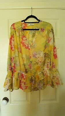 V by Very size 16 floral chiffon blouse with fluted cuffs in yellow