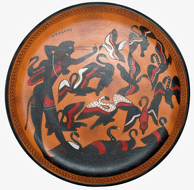 Heracles and Stymphalian Birds Attic black figure Greek plate reproduction
