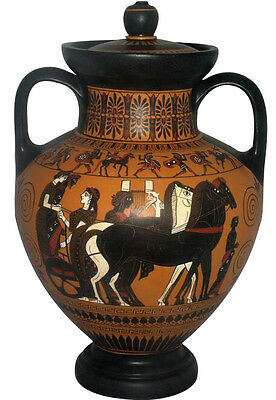 Ancient Greek Amphora Vase w/ top Museum Replica Reproduction