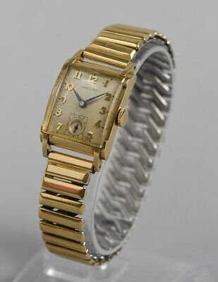 """Vintage HAMILTON """"Perry"""" Art Deco Gold Filled Tank Case Watch w/ 14K & SS Band"""