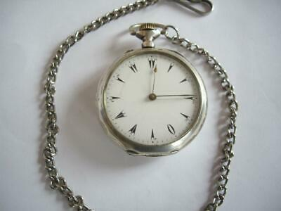19c. Vintage Turkish Ottoman Army Officer Men's Open Face Silver Pocket Watch