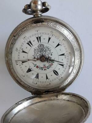 19c. Turkish Ottoman Silver Plated Pocket Watch Army Officer Key Wind Men's