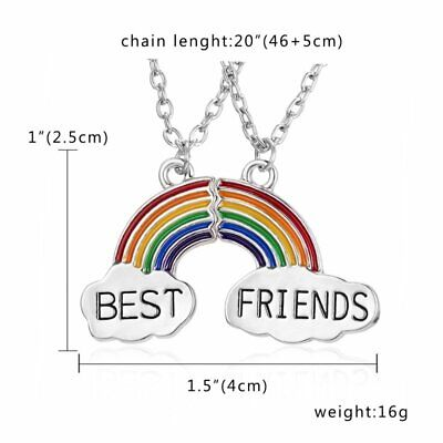 Unique Best Friends Stainless Steel Set Chain Stitching Pendant Necklace Jewelry