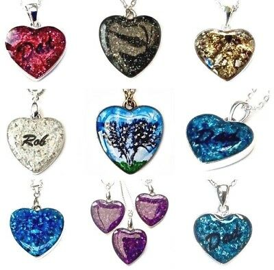 cremation jewellery ashes 27mm bronze or silver tone custom heart pendant