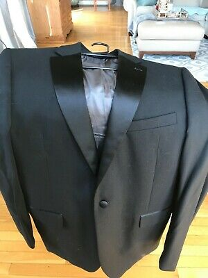 Men's Black Classic Fit Formal Tuxedo Suit w/ Sateen Lapel