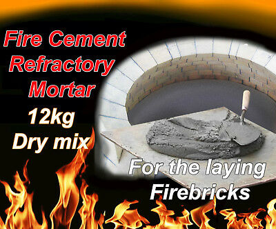 FIRE CEMENT HIGH Temperature Mortar BBQ stove pizza oven refractory dry mix  12kg
