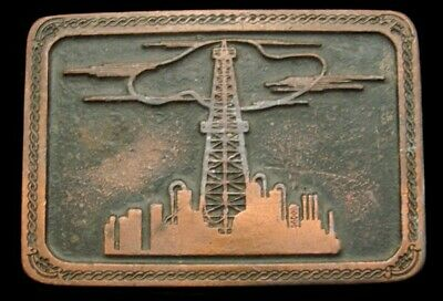 Qg02105 Large Vintage 1980 **Standard Oil Derrick & Refinery**  Oilfield Buckle