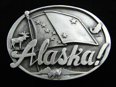 Rf05130 Vintage 1986 **Alaska!** State Commemorative Pewter Belt Buckle