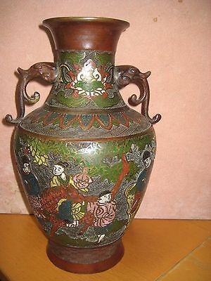 """Antique Chinese Bronze Vase With Scene Of Figures On Horses, Stamped 12"""""""