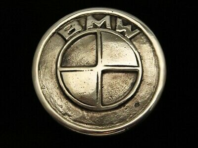 QG05167 VINTAGE 1970s *BMW* CAR & AUTO COMPANY POLISHED SOLID BRASS BELT BUCKLE