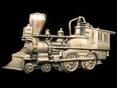 Rd09131 Vintage 1978 Cut-Out **Steam Engine Train** Railroad Solid Brass Buckle