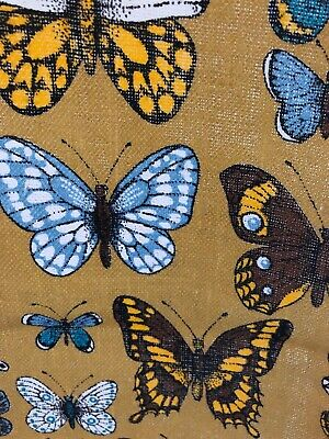 Vintage Retro Butterfly Hand Printed Linen Dish Towel Beautiful Unused