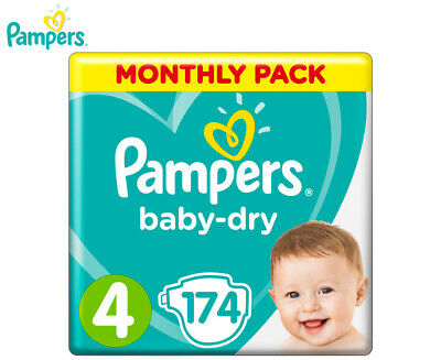 Pampers Baby-Dry Toddler Size 4 9-14kg 174-Pack
