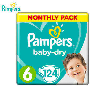 Pampers Baby-Dry Junior Size 6 13-18kg Nappies 124-Pack