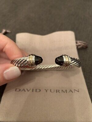 c07734028848c1 David Yurman Cable Classics Bracelet with Smoky Quartz and 14K Gold 7mm.