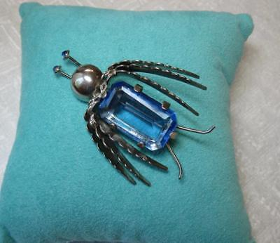 Art Déco Beetle Insecte Broche Argent Sterling Sapphiret Trifari Jelly Belly