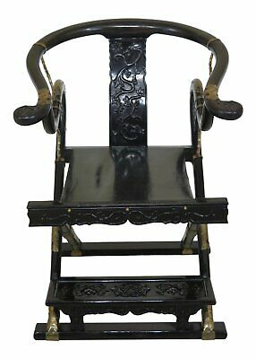 F47257EC: Vintage Chinese Oriental Black Lacquer Folding Throne Chair