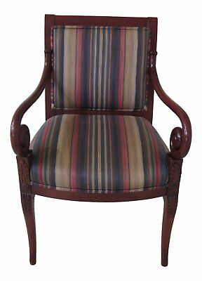 F47244EC: Regency Style Scrolled Arm Upholstered Chair