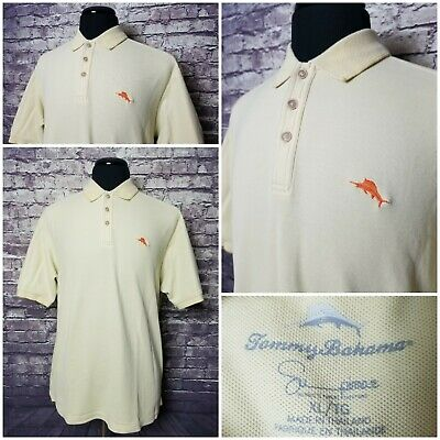 Exc Cond Tommy Bahama Mens Xl Yellow Orange Marlin Supima Cotton Polo Shirt