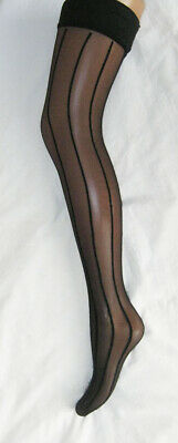 c98a06ed7 BLACK VERTICAL STRIPE Hold Ups Stockings With Polka Dot Satin Bows ...