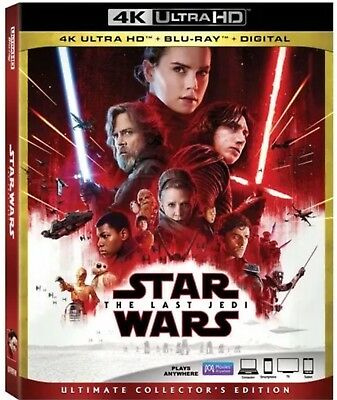 Star Wars The Last Jedi 4K Ultra Hd(4K Ultra Hd+Blu-Ray+Digital)W/Slipcover New