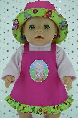 "Play n Wear Doll Clothes To Fit 17"" Baby Born  HOT PINK DRILL DRESS~TOP~HAT"