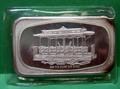 Trolley Cable Car,Cleveland, Art Bar Fine Silver .999 1 troy ounce, Madison Mint