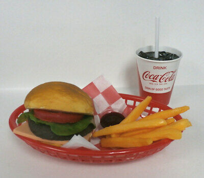 Fake Food Diner Car HopCheeseburger Fries W/ 50'S Red & White Coke Cup