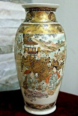 Antique Meiji Japanese Immortals Satsuma Vase Signed Impressed Mark