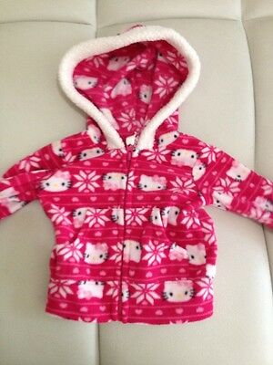 c94d6be7b EVY HELLO KITTY Black Pink Full Zip Fleece Hoodie Jacket NEW Toddler ...
