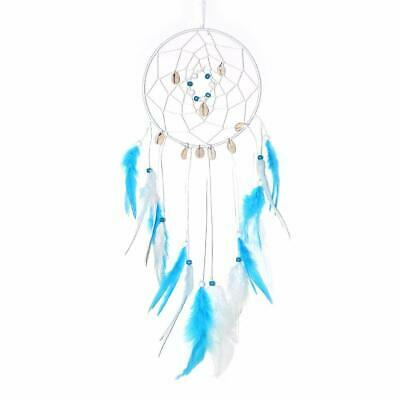 Handmade Large Dream Catcher with Turquoise Blue Feathers Beads Seashells, Wall