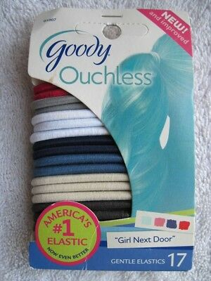 17 Goody Ouchless Girl Next Door No Metal Elastic Hair Bands Ponytailers White