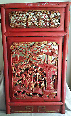 ANTIQUE CHINESE CARVED WOOD Wall Furniture PANEL Gold Red