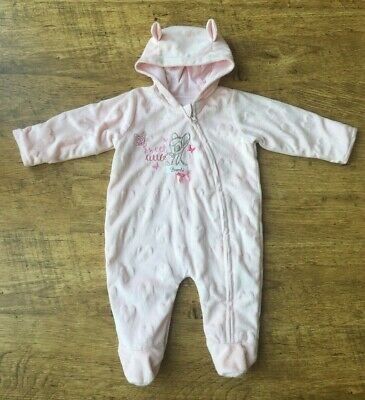George ~ Disney Bambi Pink Velour All-in-one Pram Suit ~ Age 0-3 Months