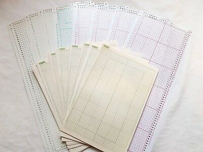 Pc150 Brother Knitting Machine 8 X Blank Punch Cards 60 X Design Graph Sheets
