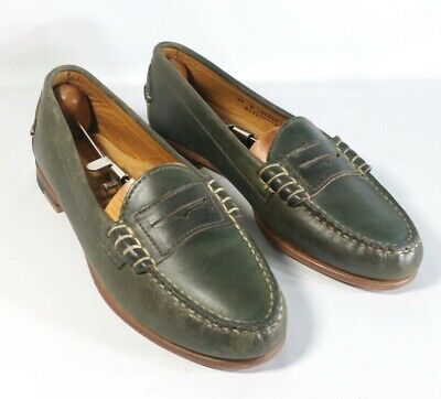 51259baa4db Oak Street Bootmakers Penny Loafers Olive Green Made in the USA Mens 10B  Narrow