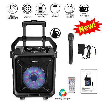25W Portable Wireless Party Speaker System Big LED Stereo Tailgate Loud +Mic