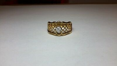 Kinsley & Sons signed Gothic 14k Yellow Gold Diamond Ring FILIGREE Size 8