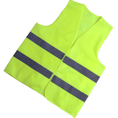 Safety Vest with Reflective Strips High Visibility Zipper Front Yellow