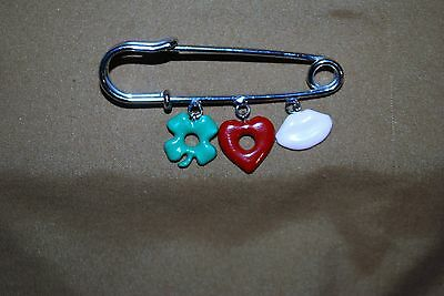 Diaper Charm Pin Safety Pin Baby Infant Mother Lips Shamrock Heart Newborn