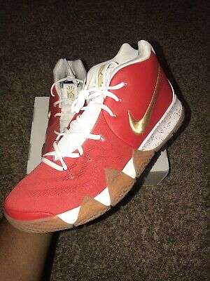 159ce15003f8 NIKE KYRIE 4 Sz 14 NikeID Crimson Red  White Gold Irving (ar3867-993 ...