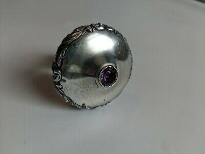 Antique Sterling Silver Bottle Decanter Stopper with Amethyst Gem