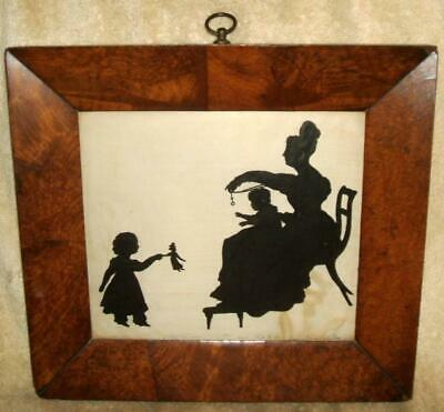 Late 1700s Early 1800s Original Framing Silhouette Identified Mother & Children