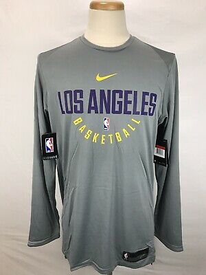 acaf02db332 Nike NBA Los Angeles Lakers Player Practice Long Sleeve Jersey Mens L  877506-039