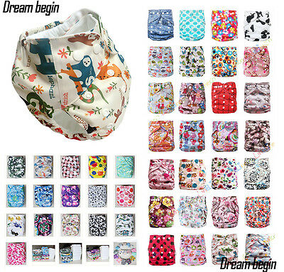 Baby Reusable Cloth Diapers One Size Washable TPU Pocket Nappy Covers Inserts
