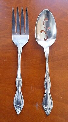 Large Wm. A. Rogers Meat Fork & Slotted Serving Spoon