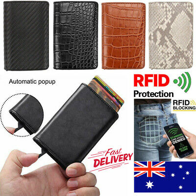 Pop Up Men Leather Purse Credit Card Holder Money Cash Clip Wallet RFID Blocking