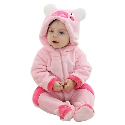 Unisex-baby Animal Pajamas Pink Piggy Hooded Romper Flannel Jumpsuit